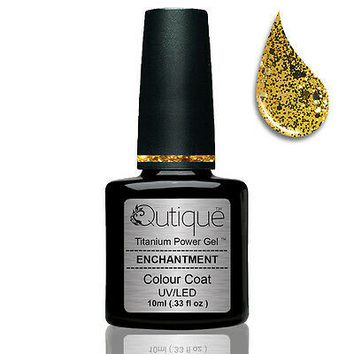 Qutique ENCHANTMENT Soak Off LED/UV Glitter Gel Nail Polish Colour -Gold