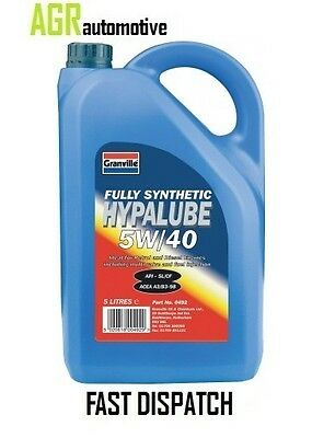 Granville Hypalube 5w40 Oil Fully Synthetic 5 L Ltr Litre x 1 QTY