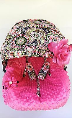 baby car seat cover canopy cover fit most infant car seat headband flowerPinks