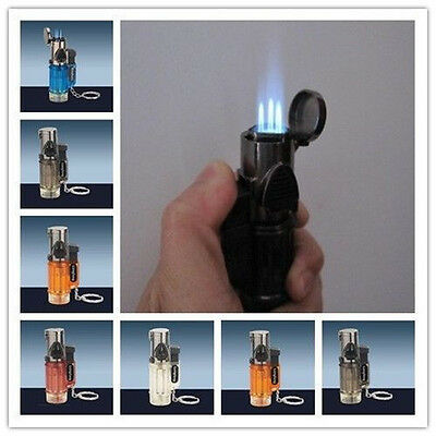 Triple Jet Windproof Torch Lighter Flame Butane For Cigar Cigarette Lock New