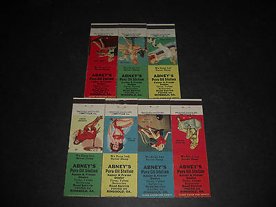 Pin-Up 1943 Abney's PURE OIL Service Station Georgia Matchbook Covers Set of 7