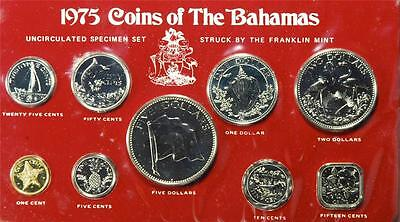 1975 Coin Of The Bahamas, Uncirculated Specimen Set, Franklin Mint, NC9