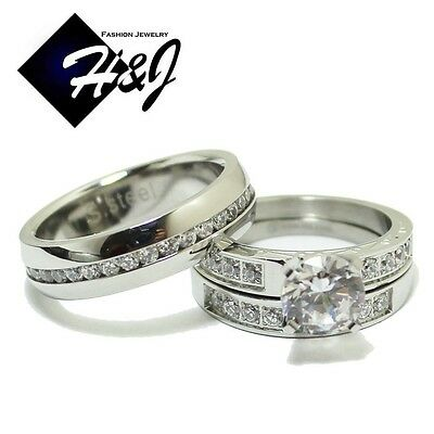 3 Pcs Stainless Steel Eternity CZ Silver Wedding Bridal Matching Ring SET*R62