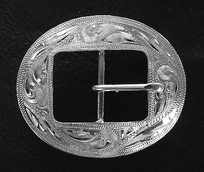 """1"""" Hand Engraved Silver Plated Center Bar Cart Buckle"""