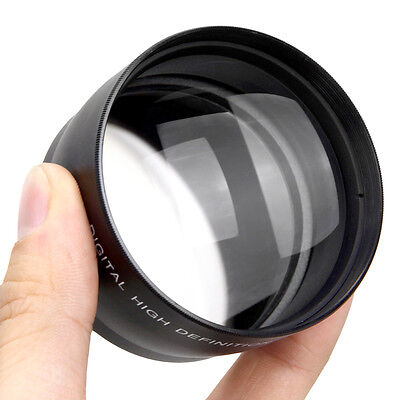 NEW 58mm 2x HD Telephoto Zoom Lens for Canon Nikon Sony 58MM DSLR Camera Black