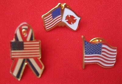 3 Pc Lot Vintage USA American Flag Patriotic FD Fire Pin Lapel Hat Vest Tie ✞