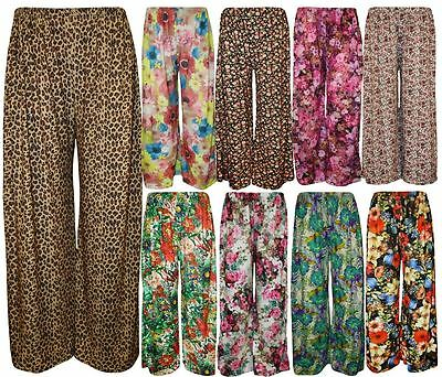 New Ladies Plus Size Flared Wide Leg Printed Parallel Palazzo Pants 8-26