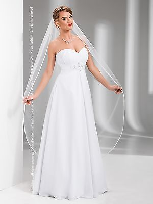 "1T White / Ivory Wedding Prom Bridal Chapel Veil With Comb 68""- Satin Edge"