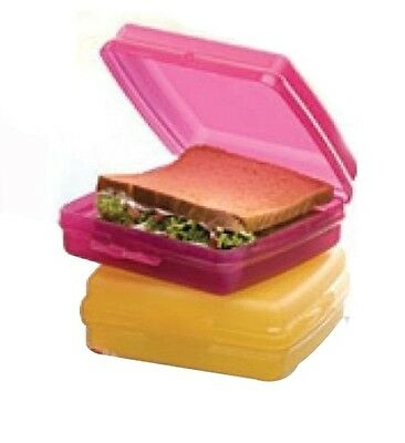 Tupperware Sandwich Keeper - Set of 2 - FUCHSIA PINK,GOLDEN AMBE - Free Shipping