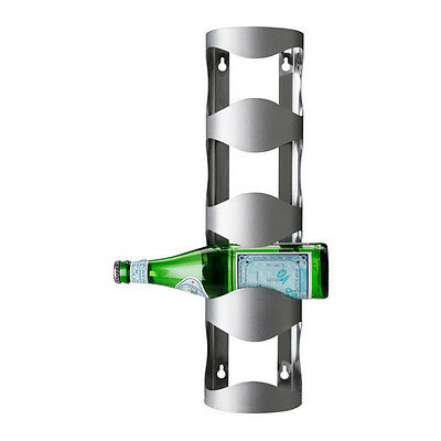 New Vurm 4 Bottle Stainless Steel Wine Rack Holder- Wall Mountable