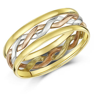 9ct Gold Celtic Ring  3 Colour Hand Made 6mm Wedding Band