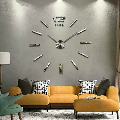 Luxury Large DIY 3D Wall Clock Home Decor Bell Cool Mirrors Stickers Art Watch H