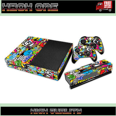 STICKER BOMB | Sticker Skin Kit Cover for XBOX ONE Console 2 Remotes Kinect