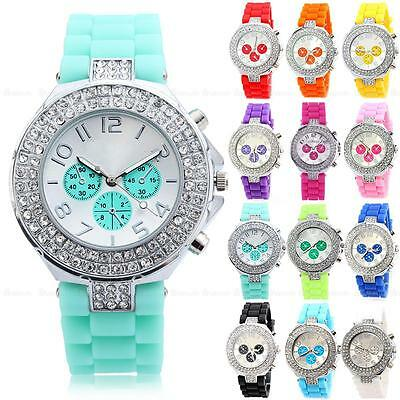 Fashion Geneva Bling Crystal Ladies Women Girl Jelly Silicone Quartz Wrist Watch