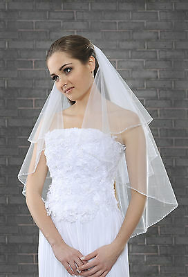 """New 2 Tier White Ivory Wedding Bridal Elbow Veil With Comb 32"""" Beads & Pearls"""
