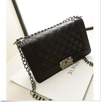 Classic Fashion Women's Black Quilted Faux Leather Chain Purse Shoulder Bag