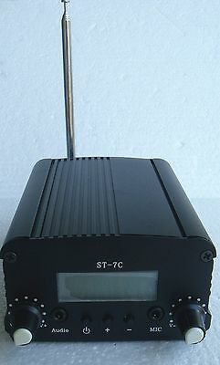 Sale 1W/7W FM stereo PLL transmitter broadcast 76--108MHZ  host+small antenna