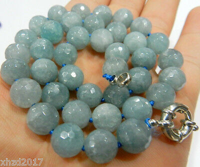 Natural 12mm Faceted Round Aquamarine Beads Necklac 18""