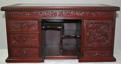 Wooden Miniture Oriental Desk Beautifully Carved In Need Of Restoration- Pn-50 -