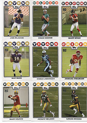 2008 TOPPS FOOTBALL SET 440 cards plus 5 insert sets RC Flacco Ryan Rice  Johnson a6f87089e