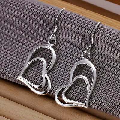 XMAS wholesale free shipping sterling solid silver 2 heart earring YE511 + box