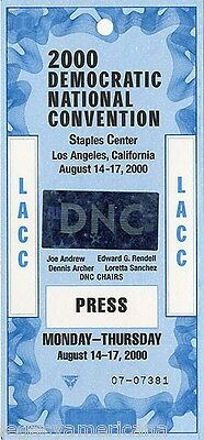 2000 Al Gore Los Angeles Democratic Convention Press Pass (2405)