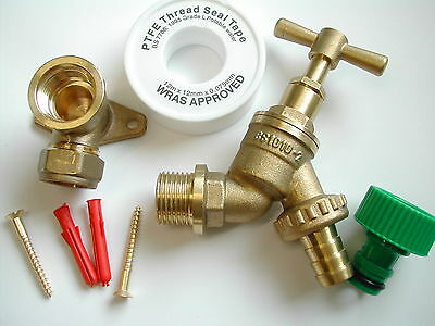 Outdoor / Outside Tap Kit | Inc Garden Hose Pipe Fitting and Wall Mounting Plate
