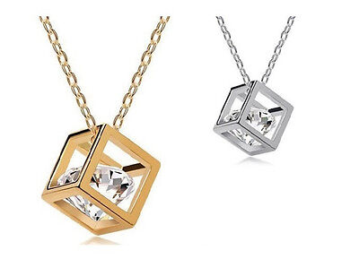Swarovski Element Hollow out Cube Silver Gold Plated CZ Crystal Pendant Necklace
