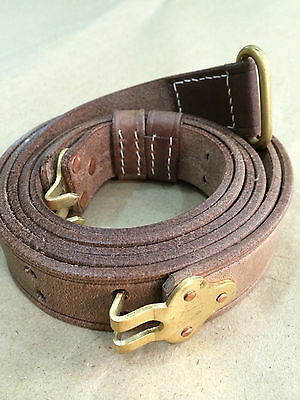U.S. 1907 WWI Garand Rifle Sling: Brass Fittings (Repro) OILED NATURAL LEATHER