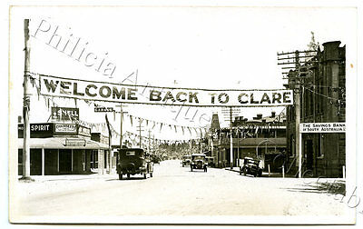 C.1920'S RP PU POSTCARD WELCOME BACK TO CLARE CELEBRATIONS MAIN STREET SA. r33