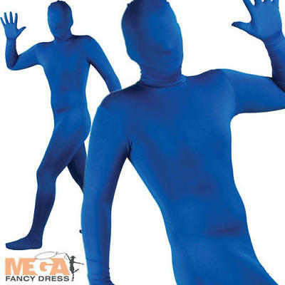 Blue Bodysuit Skinz Lycra Fancy Dress Skin Suit Halloween Christmas Stag Costume