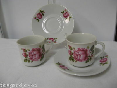 Lot 2 INARCO Made in Japan Cups/Saucers-Hand Painted Roses