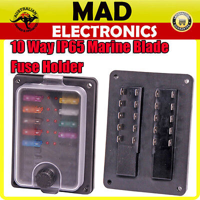 10 Way Weatherproof Ip65 Rated Fuse Holder Box With Led Indicators