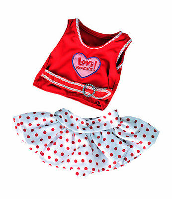 """Love Rocks Top with Polka Dot Skirt 16"""" by Teddy Mountain will fit Build a Bear"""