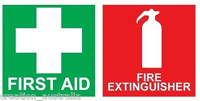 FIRST AID & FIRE EXTINGUISHER Sticker 100mm Sign Decal Set Public Safety OHS WHS