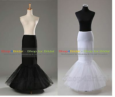 White/Blac​k 1 Hoop Mermaid Wedding Bridal Underskirt Crinoline Petticoat Slips