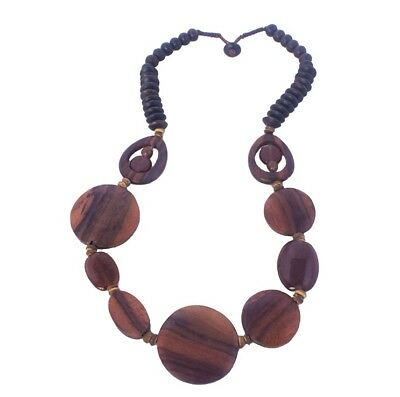 Wooden Disc & Glass Beads Necklace from Bali Indonesia Fair Trade Jewellery
