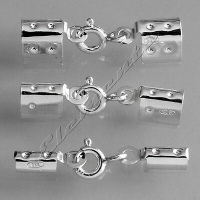 Sterling 925 Silver Necklace Folding Crimp Ends With Integral Bolt Ring Clasp