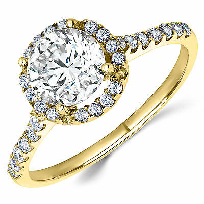 14K Yellow Gold CZ Halo Engagement Ring 1 Ct. (Birthstones Available)