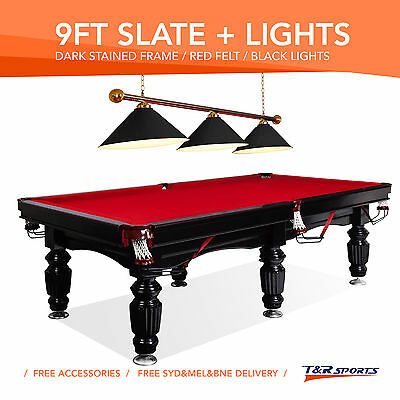 New 9Ft Luxury Red Slate Pool/billards/snooker Table With Black Metal Light