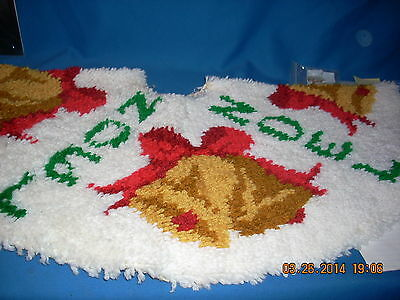 Completed Latch Hook Christmas Tree Skirt -- Noel and Bells