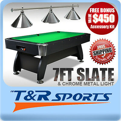 New! 7Ft Green 1-Piece Slate Pool/snooker/billiard Table With Chrome Metal Light