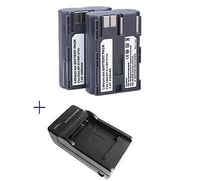 2* BP-511 BP511A Battery + Charger for Canon EOS 40D 300D 5D 20D 30D 50D 2500mAh