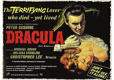 Dracula - Peter Cushing - Christopher Lee - Hammer - A4 Laminated Mini Poster