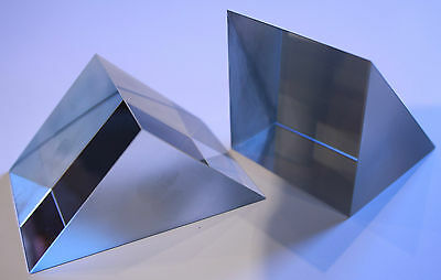 Right Angle Glass Prisms With Aluminium Coated Hypotenuse Face.  PCH