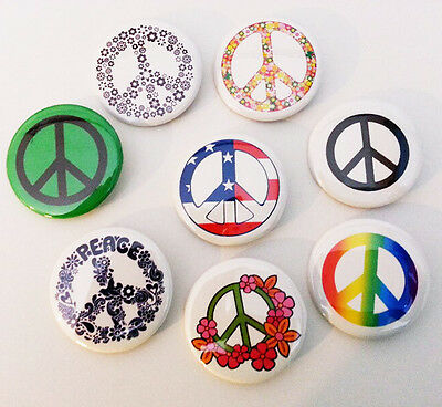 8 piece lot of Peace Sign pins buttons badges