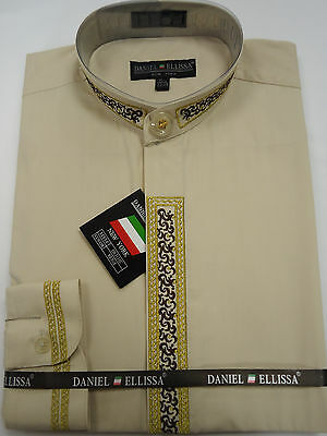 Mens Fancy White /& Gold Nehru Dress Shirt Gorgeous Embroidered Detail DS3112C