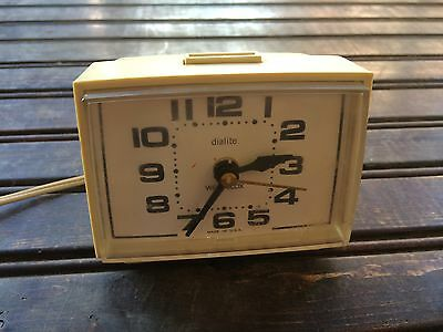 Vintage Westclox Dialite Electric Alarm Clock Retro USA 22392K