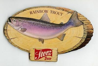 STORZ BEER RAINBOW TROUT FISH MAN CAVE WOOD WALL PLAQUE DECOR. SIGN VTG STYLE