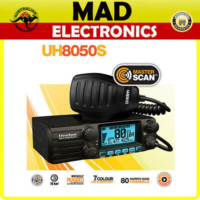 Uniden UH8050S UHF 80 CHANNEL 5 WATT DIN MOBILE RADIO SCANNER CAR TRUCK 4WD